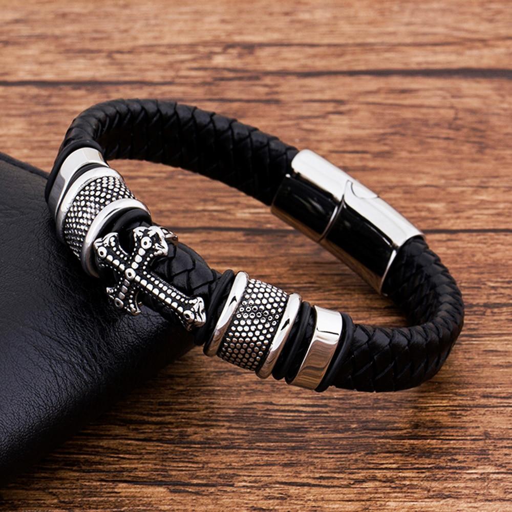 Luxury Charm Multilayer Magnetic Buckle Black Genuine Leather Men Bracelet Cross Jewelry Handmade Punk Gift For boy friend