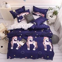 Purple Unicorn 4pcs Bedding Set Winter Four Pieces One Quilt Cover One Bed Sheet Two Pillowcases Duvet Cover King Bed Set(China)