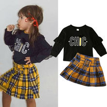 Детская осенняя одежда для девочек; комплекты для маленьких девочек; свитер с рукавами-оборками и надписью; плиссированные юбки в клетку; повседневная одежда для девочек; От 1 до 9 лет