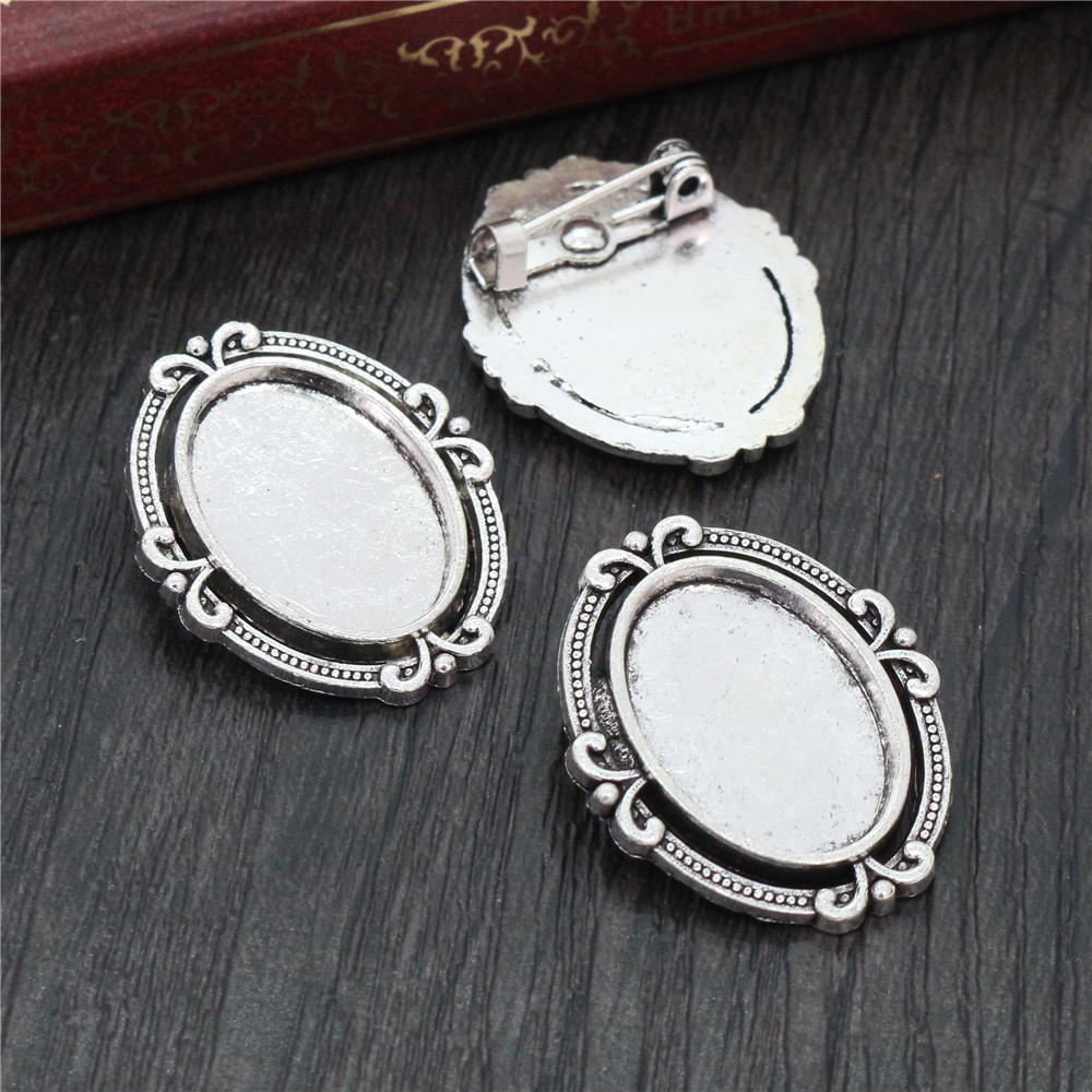 8pcs 13x18mm Inner Size Antique Silver Plated Brooch Simple Cameo Base Setting Charms Pendant Necklace Findings  (D4-40)