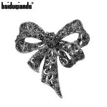 Baiduqiandu, broches de lazo de diamantes de imitación de Color negro para mujer, broche de lazo grande, Pin, joyería de moda Vintage