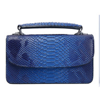 Blue Snake Leather Crossbody Bag Hot Sales Flap Magnet Large Ladies Shoulder Bags with Fixed Handle for Women