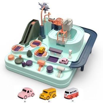 Kids Car Track Big Adventure Rush Macaron Through Inertial Vehicle Railcar Toys Set Educational Table Game Children Parking