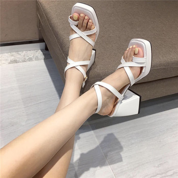 Women Chunky Heel Sandals Brand Women High Heels Platform Sandals Fashion Cross Strap Shoes Gladiator Sandals Sandalen Dames high quality women fashion strappy patent leather gladiator sandals cut out ankle strap high heel sandals free shipping