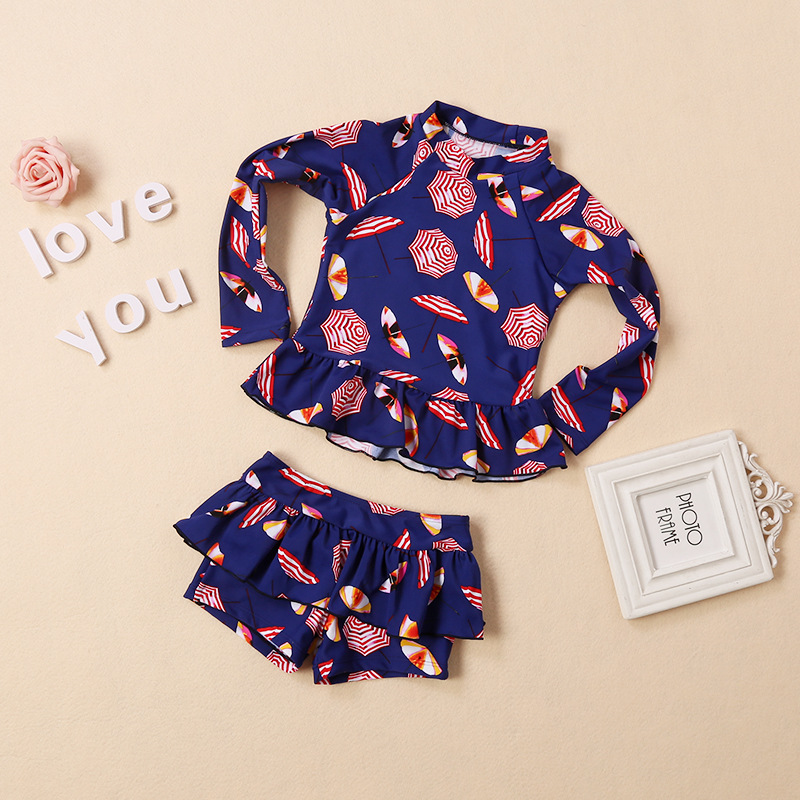 2018 Zhuo Siong Qi New Style KID'S Swimwear Split Type Long Sleeve Korean-style Girls Baby Sun-resistant Bathing Suit Boxer Swim
