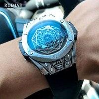 RUIMAS-Reloj de pulsera deportivo para hombre, de cuarzo, con correa de cuero, militar, resistente al agua, 533G