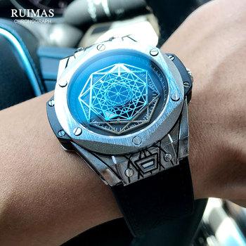 RUIMAS luksusowa tarcza marki zegarki kwarcowe mężczyźni skórzany pasek wojskowy zegarek sportowy człowiek wodoodporny zegarek Relogios Masculino 533G tanie i dobre opinie 22cm Moda casual QUARTZ 3Bar CN (pochodzenie) STOP 15mmmm Hardlex Kwarcowe zegarki Papier Skórzane 48 5mmmm RL533GBK-1