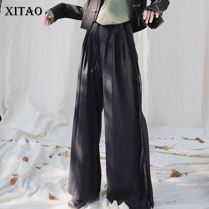 XITAO Fashion Thin Pants Women High Waist Plus Size Wide Leg Pants Trend Wild Black Straight Slacks Spring New 2020 DMY3224