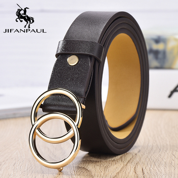 JIFANPAUL Genuine leather Women's alloy double ring buckle fashion adjustable belt retro punk ladies dress jeans student belts 4