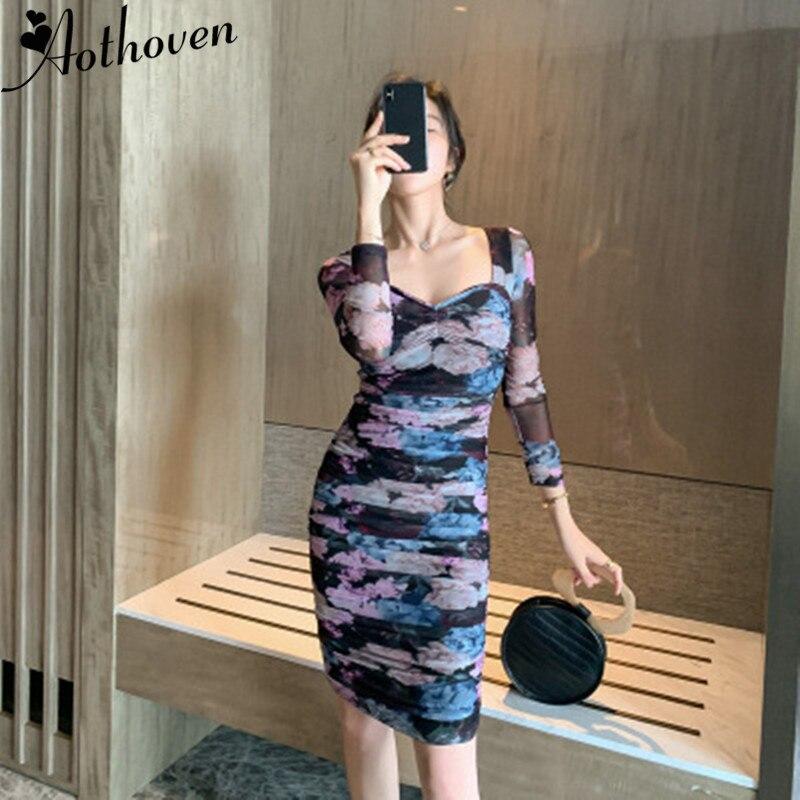 2019 automne Vintage Bandage imprimer robe drapée femmes à manches longues col carré maille robe Vintage Sexy robes de soirée robes