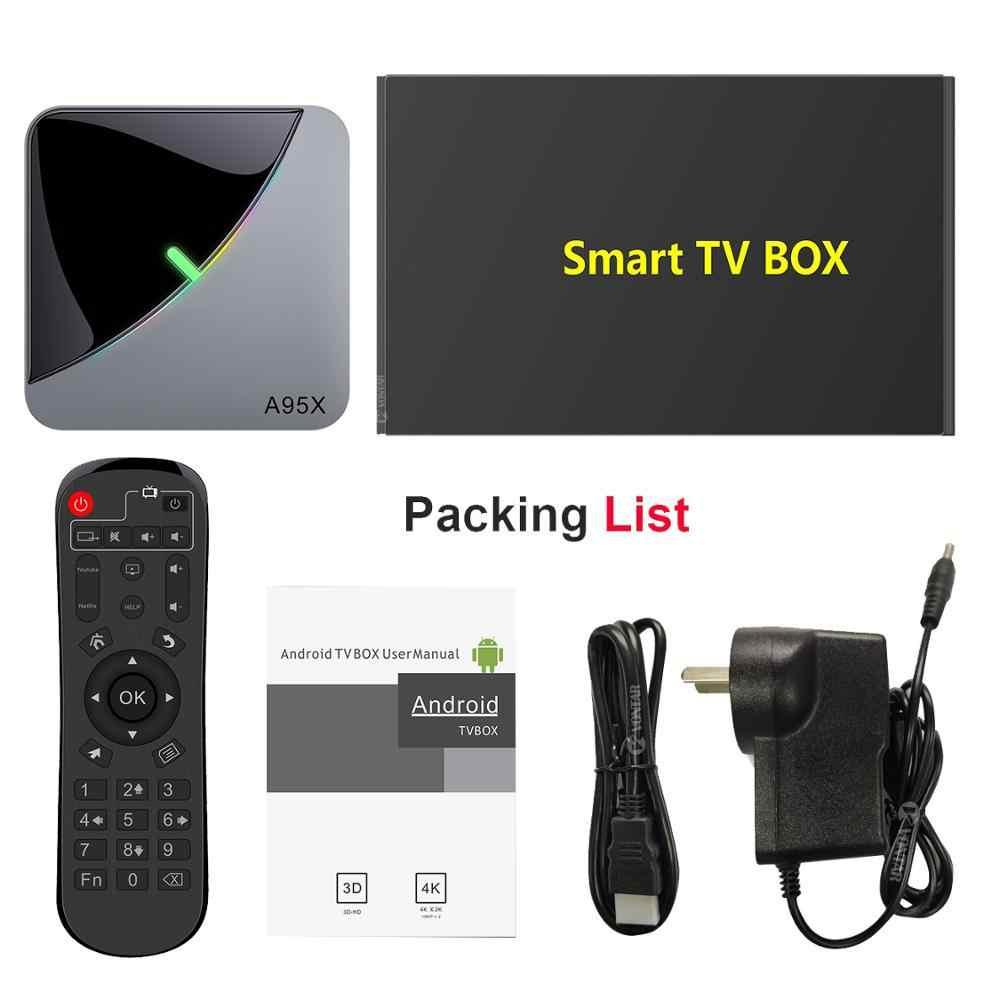 2020 VONTAR A95X F3 aire 8K RGB luz de la caja de TV Android 9,0 Amlogic S905X3 4GB 64GB Wifi 4K de Netflix Dispositivo de TV inteligente Android 9 A95X-F3