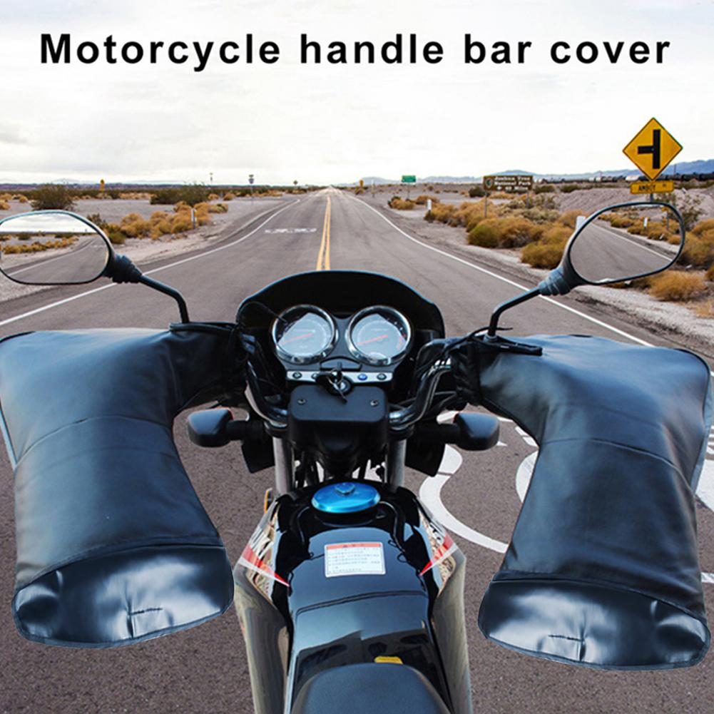 PU Leather Handlebar Cover Muffs Thickened Motorcycle Gloves With Reflective Strip Waterproof Scooter Handlebar Gant Moto Homme