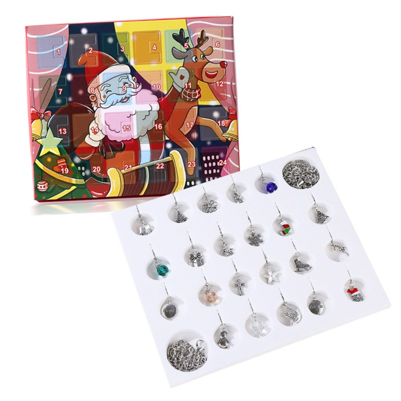 Christmas Advent Calendar Snowman Children's Gift Calendar Box With Fashion Bracelet Jewelry 24 Days DIY Charms Set For Kids