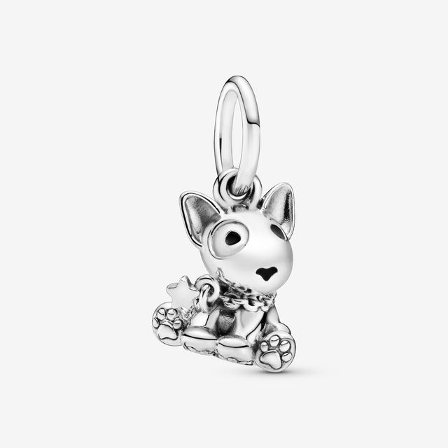 2020 HOT 100% 925 Sterling Silver Bull Terrier Puppy Dog Dangle Charm  Sterling Silver fit Original Pandora Bracelets Jewelry