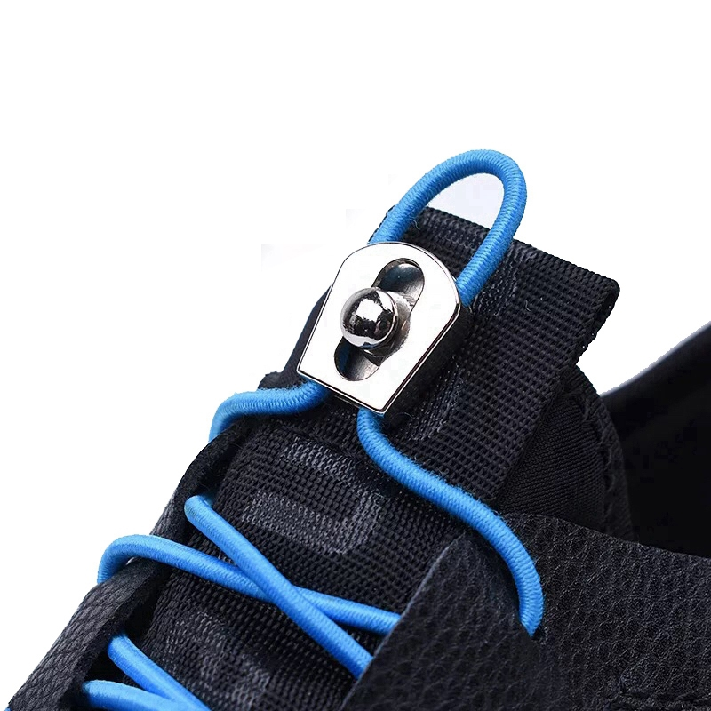 Elastic Shoelaces Metal Buckle Round Shoe Laces Convenient Locking No Tie Shoe Lace  Kids Adult Sneakers Lazy Laces 1 Pair