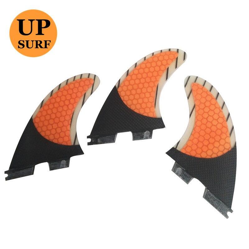 FCS2 G5/G7 Barbatanas Favo De Mel De Carbono Tri-Set Fin orange cor FCSII Quilhas de Surf Fin