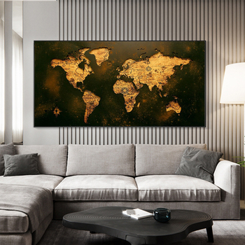 Vintage Golden World Map Picture Canvas Painting Decor Painting Oil Painting Modern Wall Art Picture Poster in Livingroom Home home decor canvas poster hotline miami painting wall art modern 5 piece oil painting picture panel print b 053