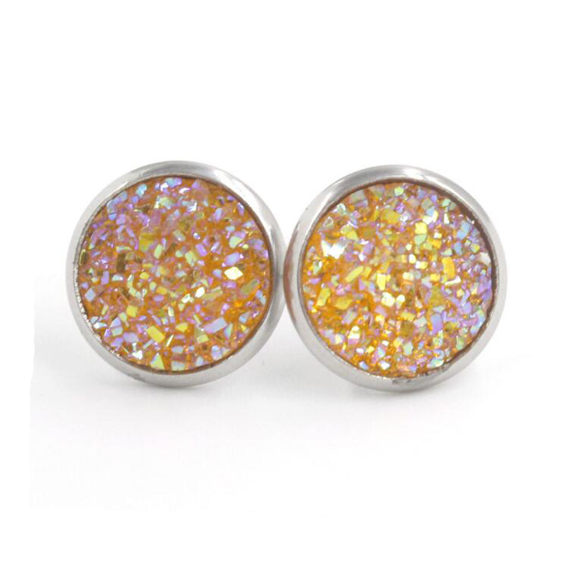 H8b5ca52fa68e4e0eaa8047943c38cbb7L - Fnixtar 12mm 100% Stainless Steel Shinning Resin Stud Earring for Women Top Quality Fashion Earrings Party Ear Jewelry