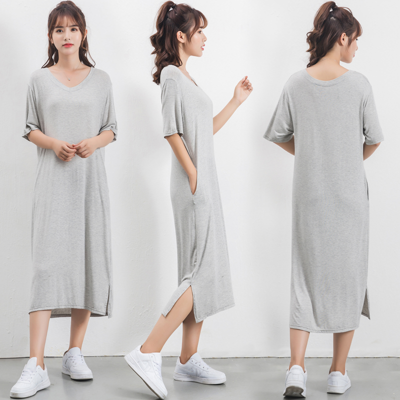 plus size пижама Loose Modal sleep dress women cotton Short-sleeved Summer   sleepshirts   women nightdress long Slit   nightgown