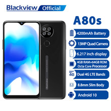 Blackview a80s 4gb + 64gb smartphone 13mp quad câmera 4200mah android 10 octa núcleo face id 4g telefone móvel impressão digital