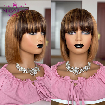 Short Bob Human Hair Wigs With Bangs Remy Peruvian Straight Ombre Blonde Full Wig Cute Cut For Black Women