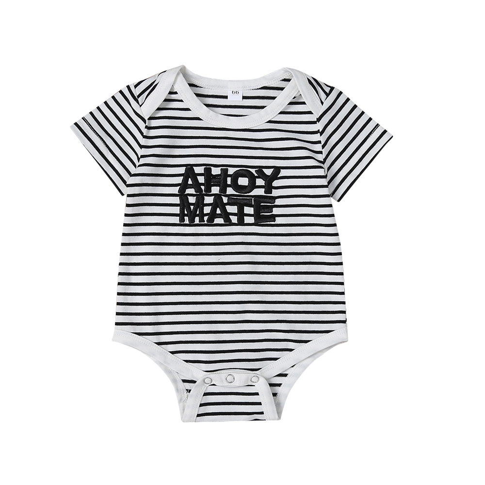 2019 Newest Hot Unisex Newborn Baby Kids Boy Girls Striped Letter Print Romper Short Sleeve Cotton Blend Clothes Jumpsuit