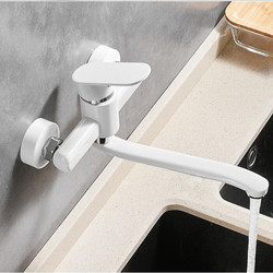 Elegent White Wall Mounted single lever hot cold basin faucet Toilet Sink Faucet kitchen Water Crane Mixer