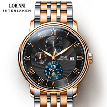 лучшая цена Switzerland wrist watch LOBINNI Men Watches  Seagull Automatic Mechanical Clock Sapphire Business relogio masculino L1023B-7