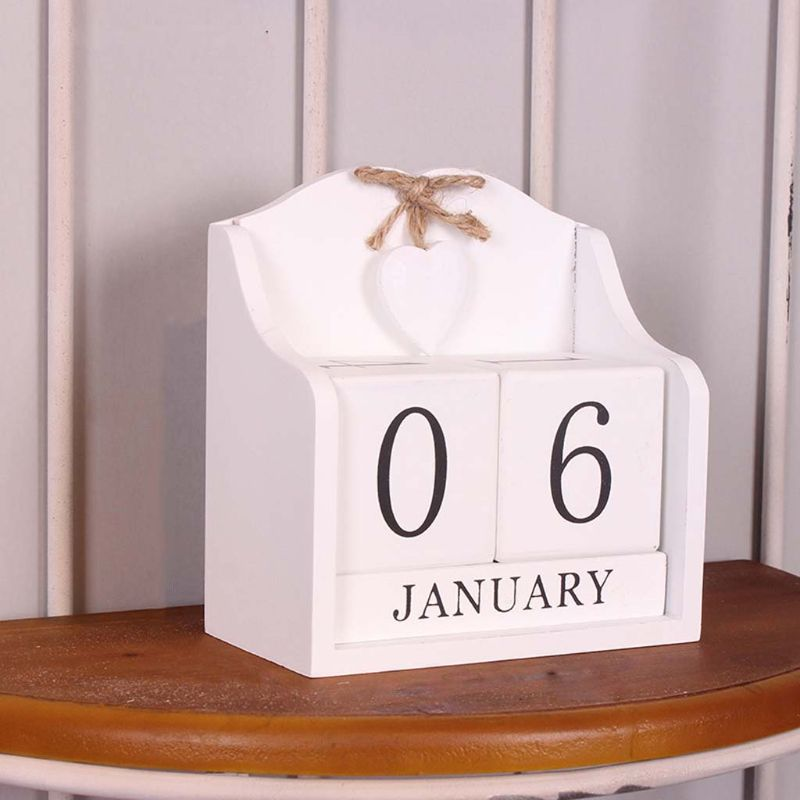 Image 2 - Vintage Wooden Perpetual Calendar Month Date Display Eternal Blocks Photography Props Desktop Accessories Home Office DecorationCalendar   -