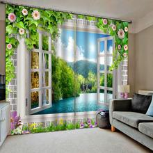 Luxury Blackout 3D Window Curtains For Living Room Bedroom green landscape curtains scenery window curtain
