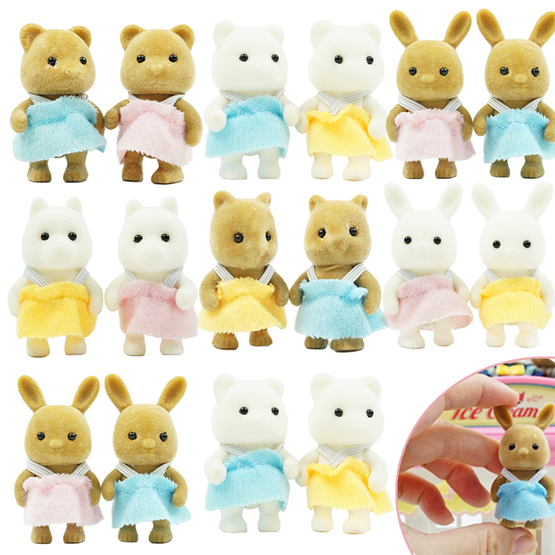 4.5CM 2PCS Animal Baby Toys Children's Simulation Forest Animal Family Rabbit Bear Panda Baby Doll Girl Play House Doll Set