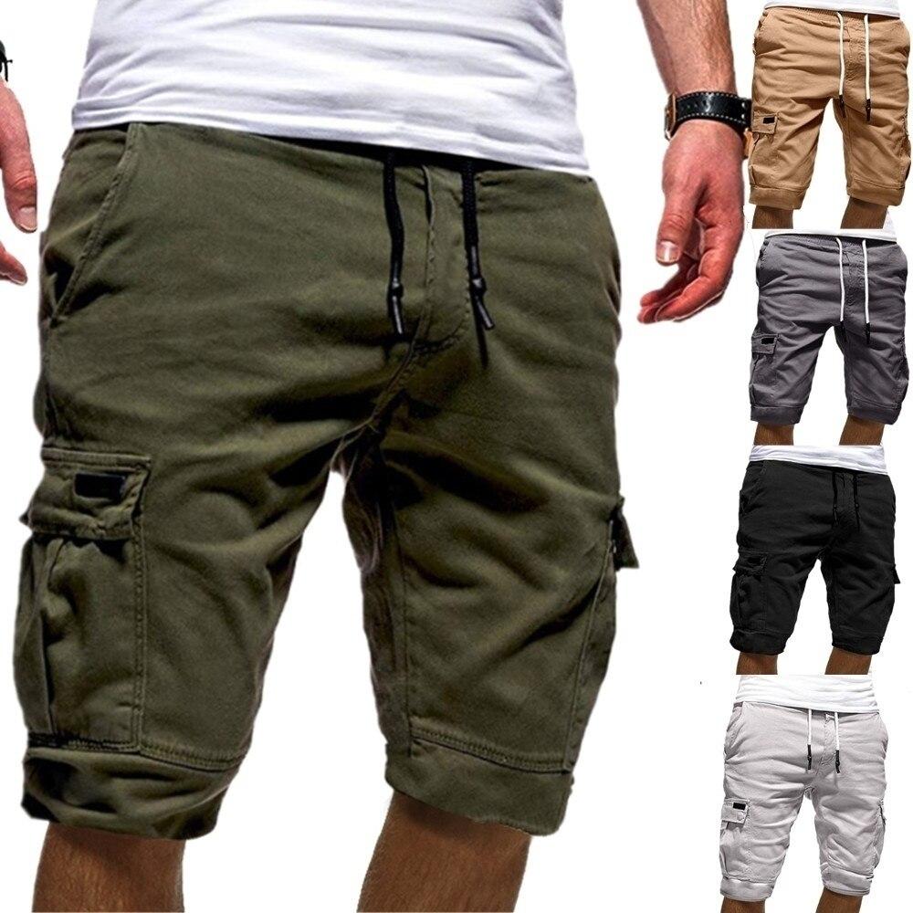 Summer Shorts Side-Pockets Bermuda Green Army Masculina Mens Casual Drawstring Fashion