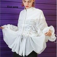 First song Women's Petal Sleeve Bandage White Mesh Top Shirt 2019New Summer Zipper Ruffled Mesh Sweet Black Chiffon Mesh Top XL