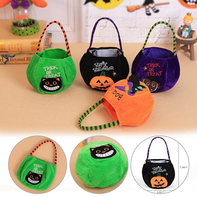 1PC Halloween Decoration Storage Baskets Halloween Trick Or Treat Candy Bag Kids GIift Sugar Holder 2019 Pouch Sacks Gift Bags