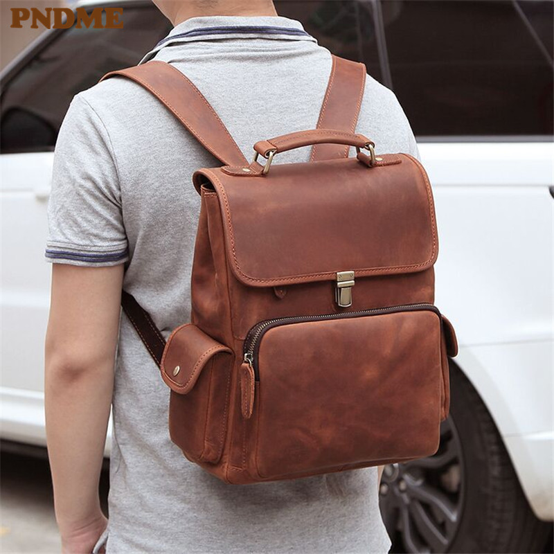 PNDME simple retro crazy horse cowhide men's backpacks high quality genuine leather anti theft bagpack travel laptop bookbags