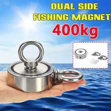 400kg/250kg/150kg duplo lado neodímio recuperação ímã gancho de levantamento anel ímã de pesca recuperação tesouro