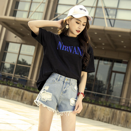 2020 New European Summer Female Blue High Waist Denim Shorts Plus Size 3XL Casual Loose Short Jeans For Women Hot LX1697