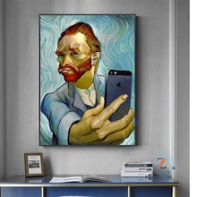 Funny Art Van Gogh Selfie By Phone Canvas Painting Abstract Portrait of Van Gogh Posters and Prints Wall Pictures for Home Decor