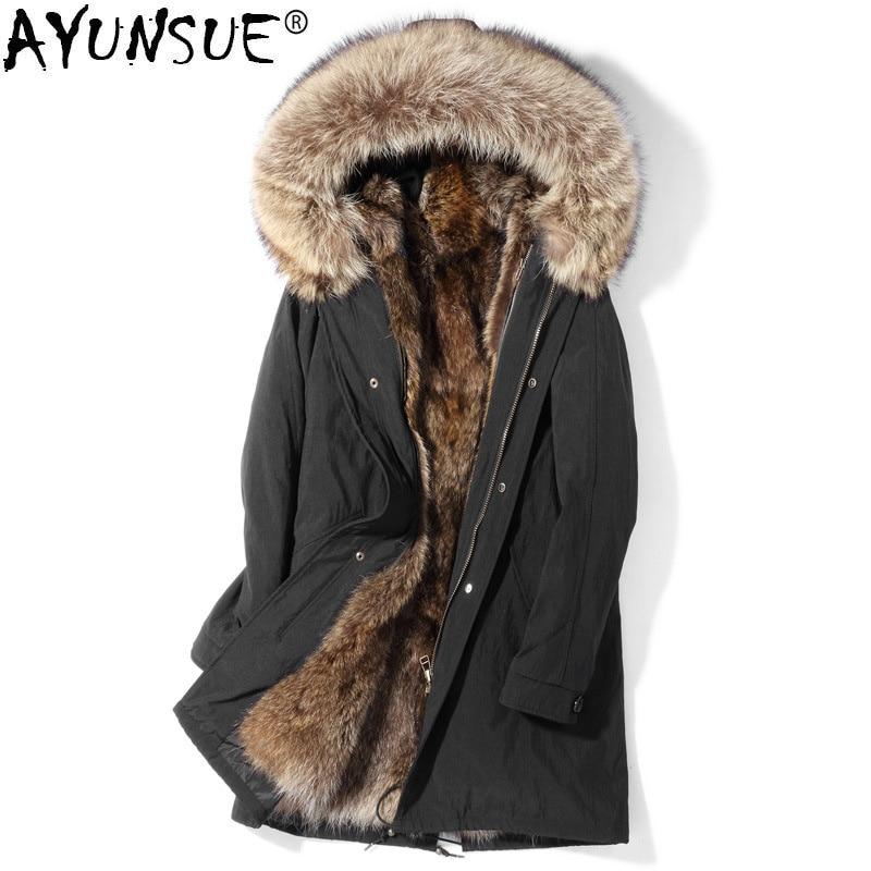 AYUNSUE 2019 New Parka Real Fur Coat Men Winter Jacket Warm Raccoon Fur Liner Long Genuine Fur Coats Parkas De Hombre P189865102