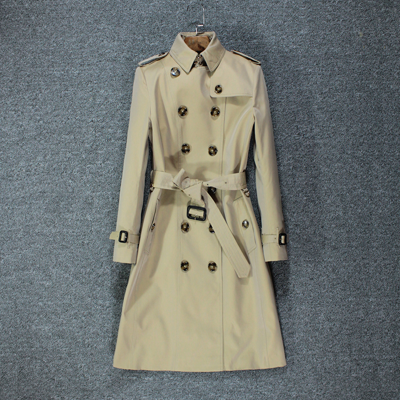 High-end Temperament England Authentic Women Windbreaker Women's Long Waist Slim Slim Slim