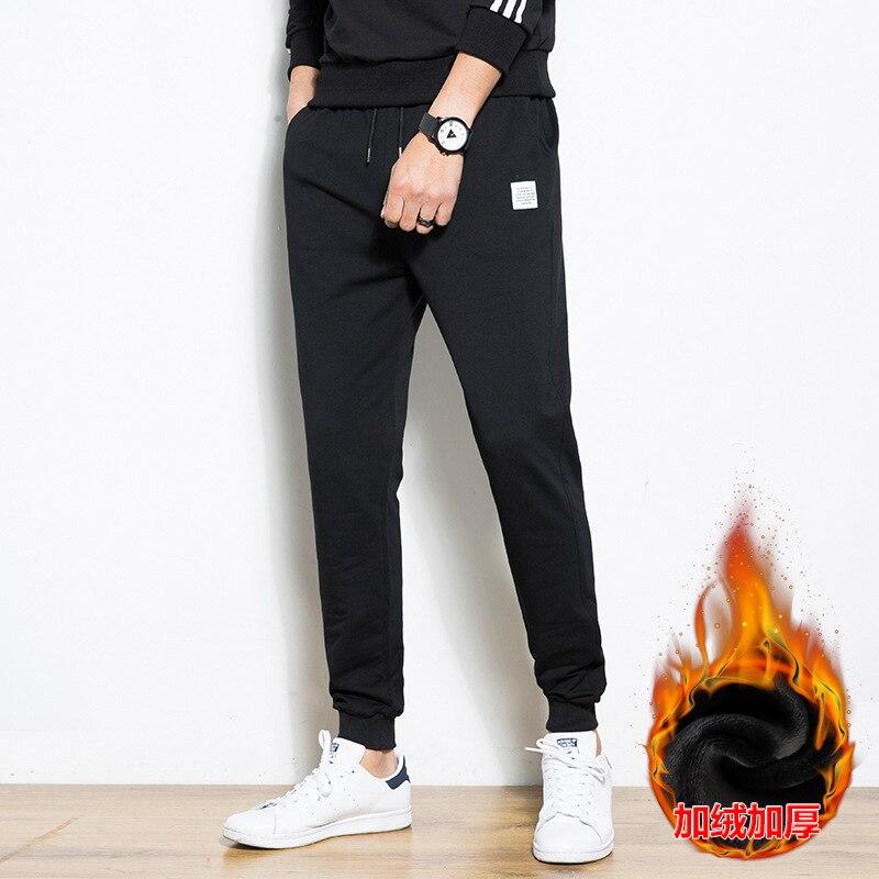 2019 Winter Plus Velvet Students Pants Men's Teenager Trend Casual Pants Men's Korean-style Warm Beam Leg Sweatpants 95 Cotton