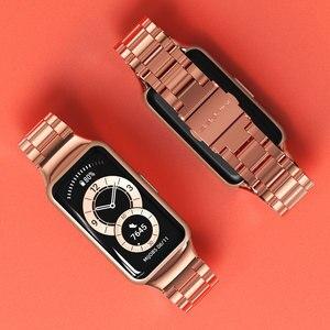 Image 1 - עבור Huawei להקת 6 רצועת לכבוד להקת 6 רצועת חכם צמיד שעון החלפת חגורת צמיד מתכת יד אבזרים