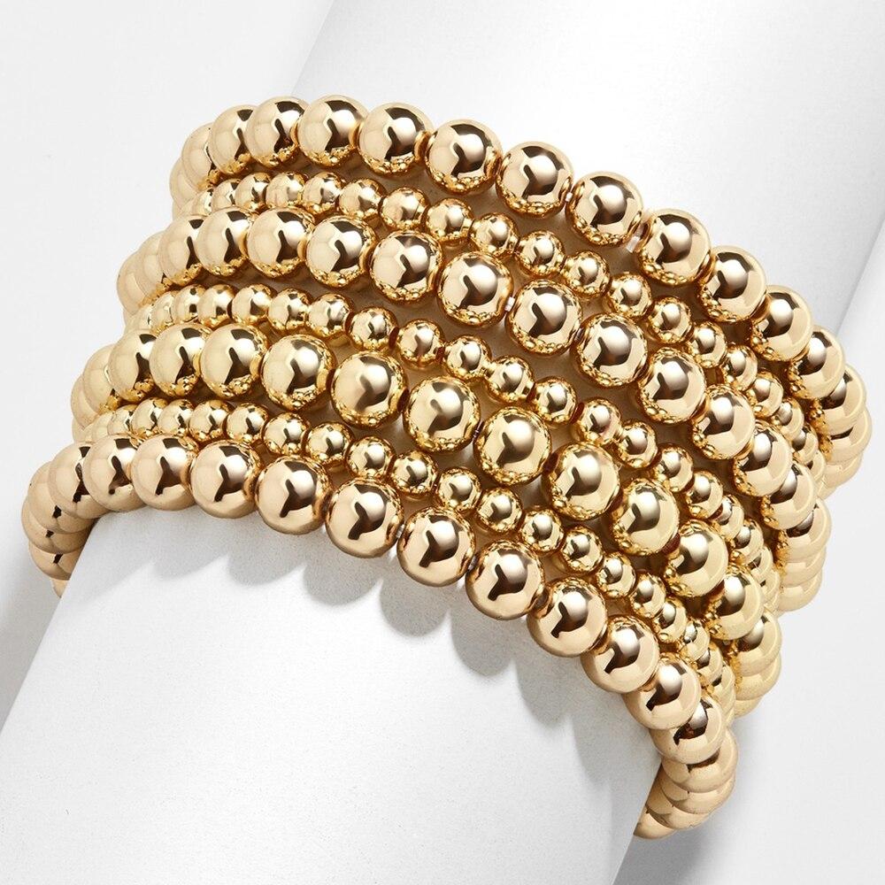 6MM 8MM 10MM Gold Color Beads Bracelet for Women Trendy Statement Big Round Beaded Handmade Bracelet 3pcs/set Fashion Jewelry