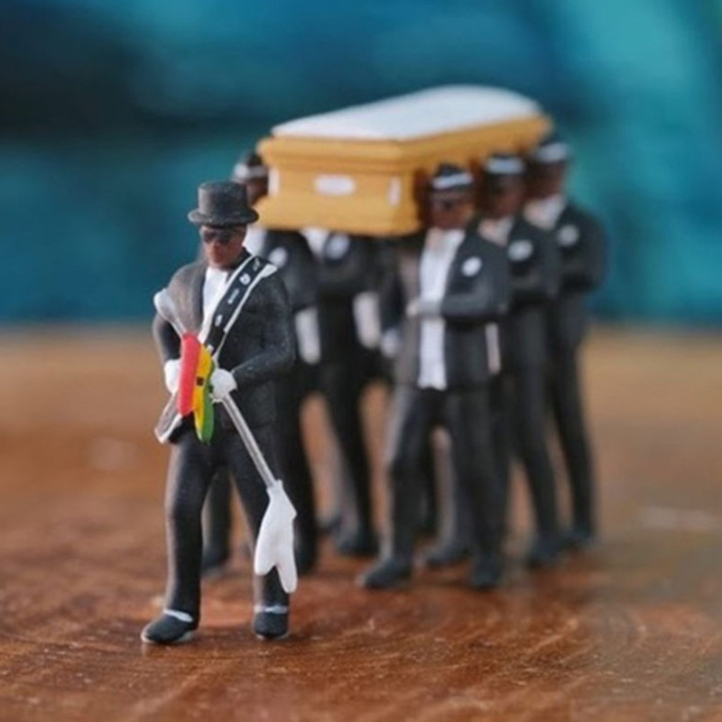 Black Coffin Dance Ghana Dancing Pallbearers Action Figure Funeral Dancing Team Display Funny Model Hot Sale Toys Collection