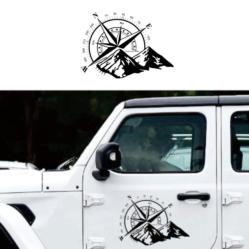 48x34cm Car Black Off Road Compass Snow Mountain Decal Hood Graphic Vinyl Decorative Sticker