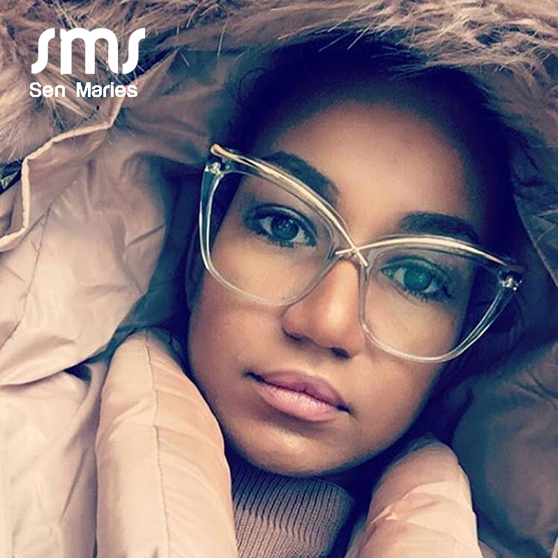 Fashion Oversized Cat Eye Glasses Frames Women 2019 Luxury Personality Optical Eyeglasses Female Men Transparent Myopia Eyewear