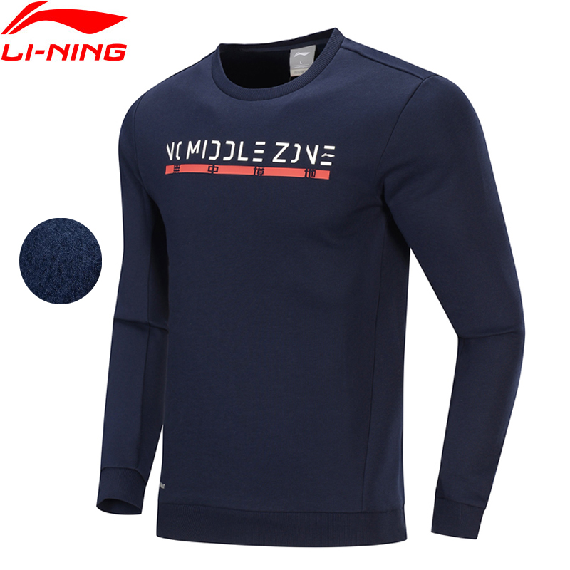 Li-Ning Men Training Sweatshirts WARM AT Fleece 64% Polyester 36% Cotton LiNing Li Ning Regular Fit Sports Tops AWDP639 MWW1631