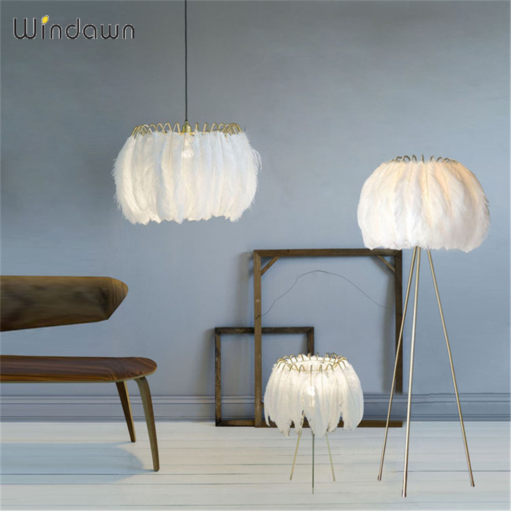 Windawn Nordic Pendant Lights Feather Ceiling Lamp Modrn Hanging Lamp Hotel Bedroom Living Room Office For Ceiling Lamp