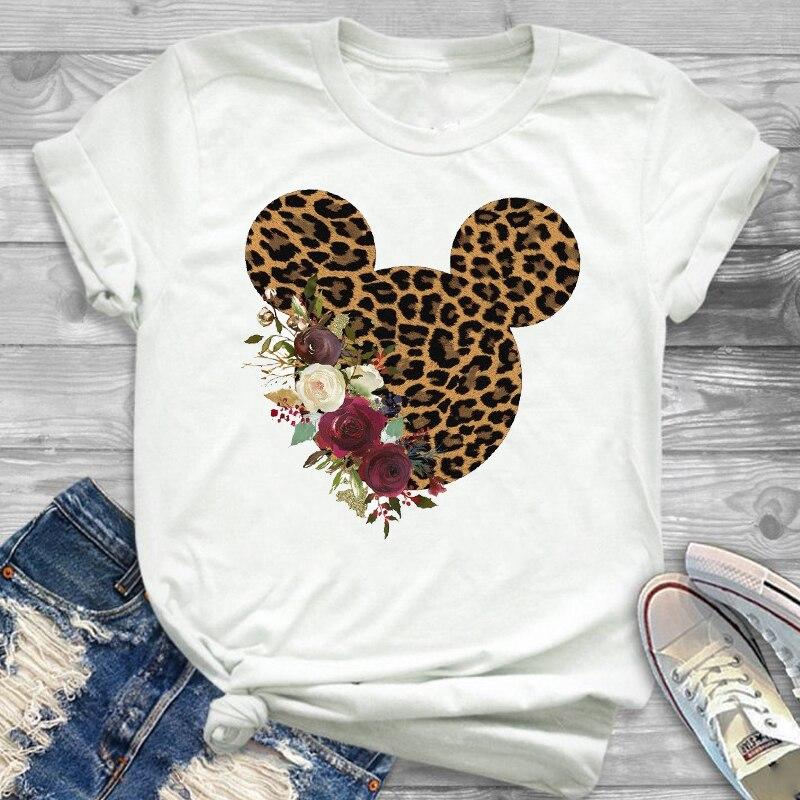 Leopard Printed Graphic Flower Fashion Minnie T-Shirt Women Mouse Mickey Ear Tee Shirt Women Tee Tops Hipster Female T Shirt