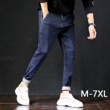 M-7XL Big Size Jeans Men Clothes Trousers Homme Straight Loose Pants Denim Blue Plus Jean Large size trousers Waist tie belt 6XL